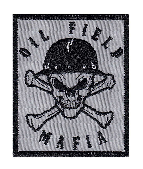 Oil Field Mafia Skull & Cross Bones Oil Rig Roughneck - Glue Back To Sew On
