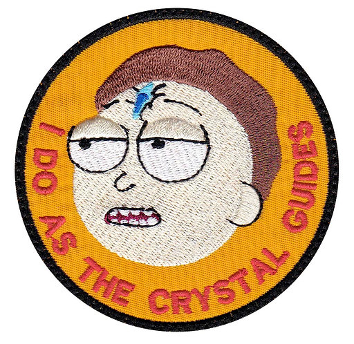Morty Smith Rick Death Crystal Guides Me - Glue Back To Sew On