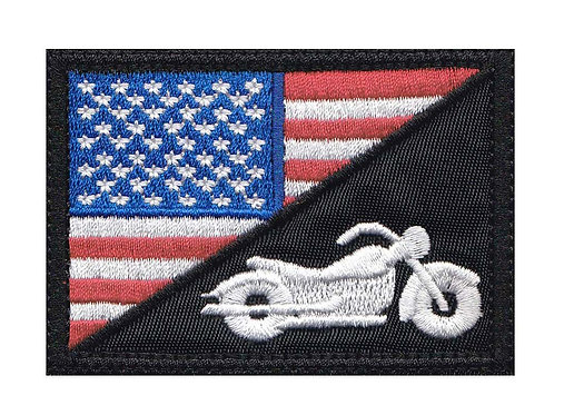 Us Half Flag Motorcycle Biker Rider Bike - Velcro Back
