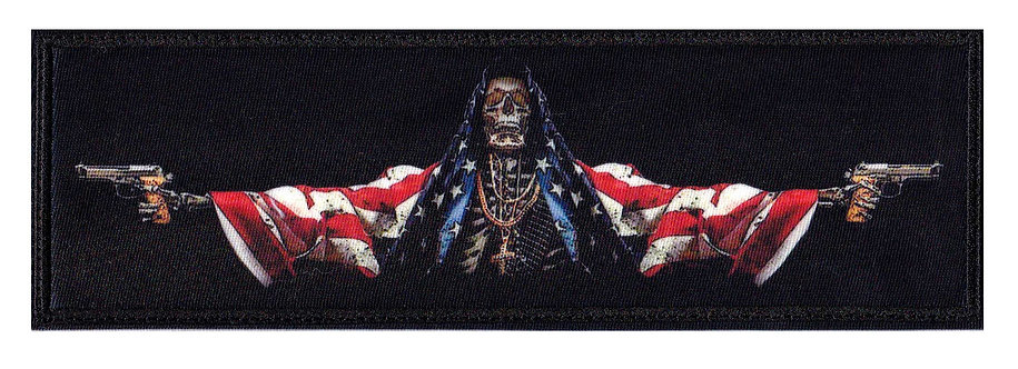America Skeleton Death Skull Flag War Armed Services - Velcro Back