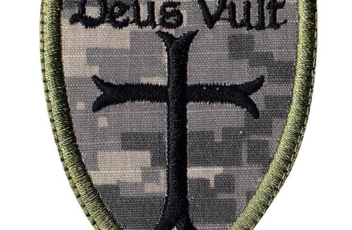 Deus Vult Christian Cross Crusade Shield - Velcro Back