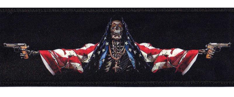 America Skeleton Death Skull Flag War Armed Services - Glue Back To Sew On