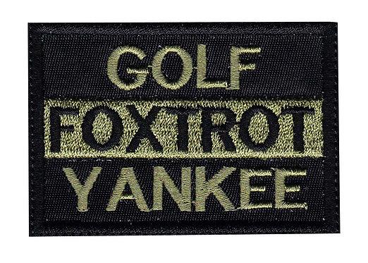 Golf Foxtrot Yankee - Velcro Back