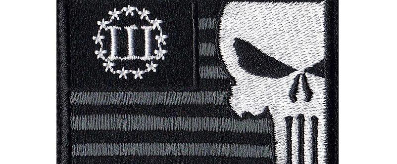 3 Percent Skull Us Flag - Velcro Back