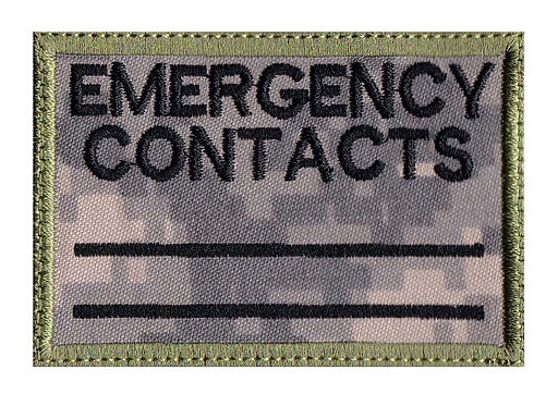 Emergency Contact Notice - Velcro Back