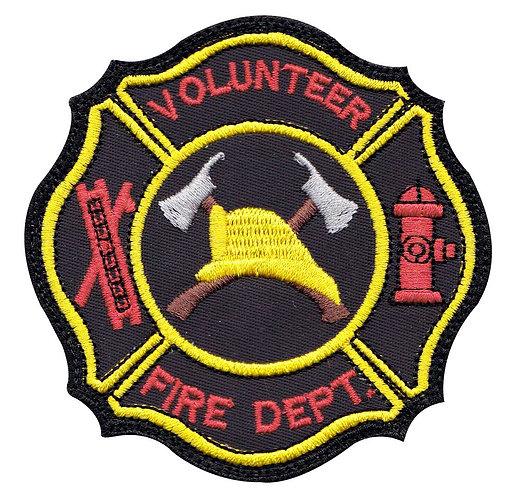 Firefighter Volunteer Hook Ladder Badge - Velcro Back