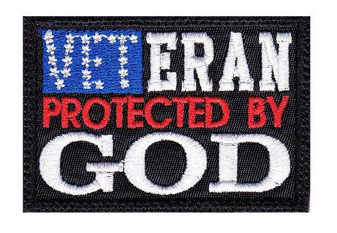 Veteran Protected By God Us Flag - Velcro Back
