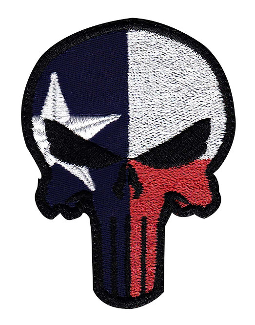 Punisher Skull Texas State Flag - Velcro Back
