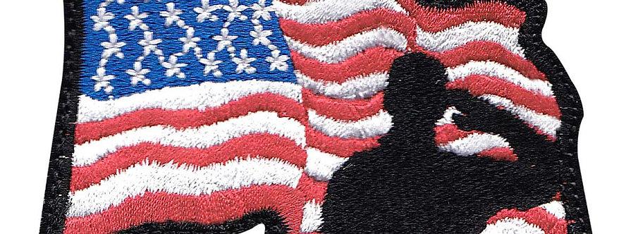 Waving Flag Saluting - Velcro Back