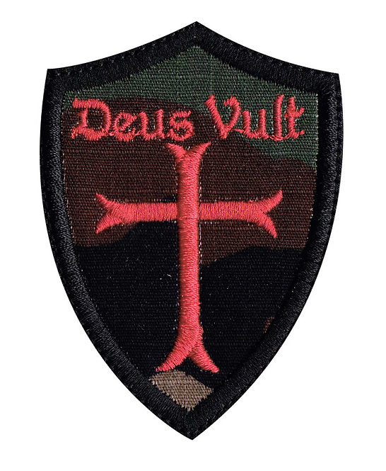 Deus Vult Christian Cross Crusade Shield - Velcro Back