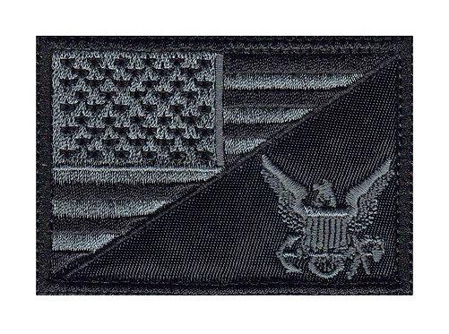USA Half Flag Service Logo - Glue Back To Sew On