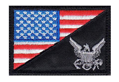 USA Half Flag Service Logo - Velcro Back