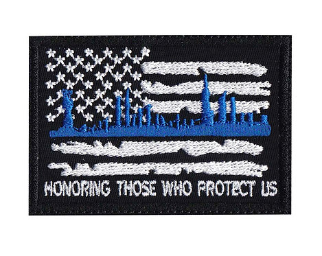 Honoring Police Line Protect Us - Velcro Back