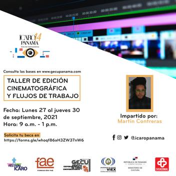FESTIVAL ICARO PANAMÁ 2021 OFRECE TALLER DE EDICIÓN CINEMATOGRÁFICA Y FLUJOS DE TRABAJO