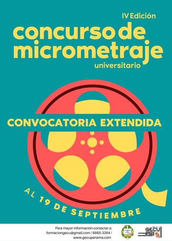 SE EXTIENDE CONVOCATORIA DEL IV CONCURSO UNIVERSITARIO DE MICROMETRAJES DE LA UNIVERSIDAD DE PANAMÁ