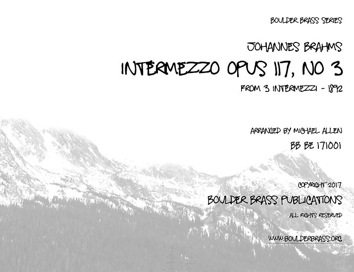 Intermezzo Opus 117, No 3