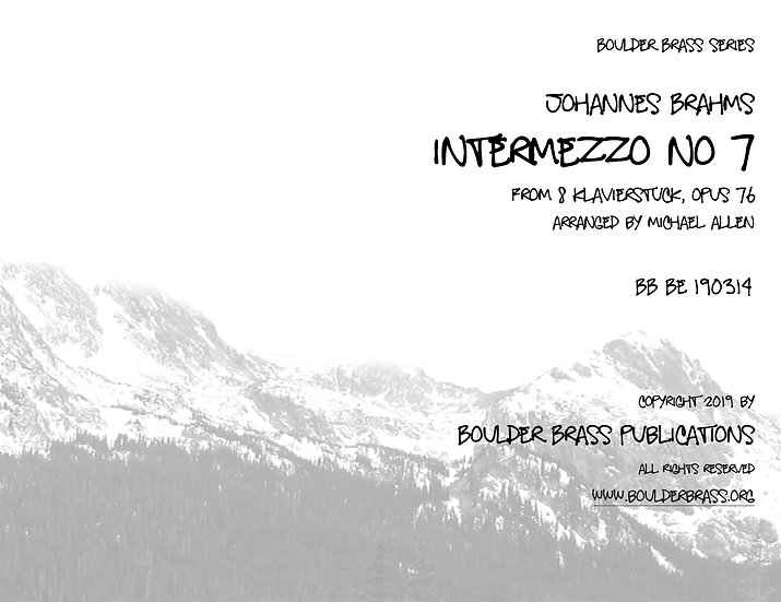 Intermezzo Opus 76, No7