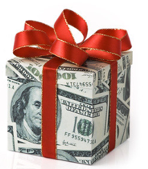 holiday money tips wrapped in a red bow