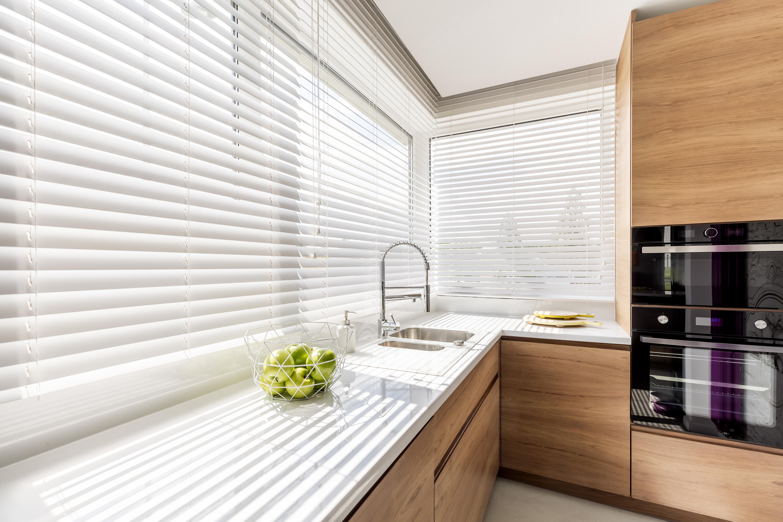 Indoor white venetian blinds kitchen