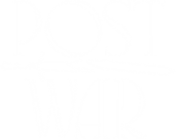 White logo of the rock band POST/WAR