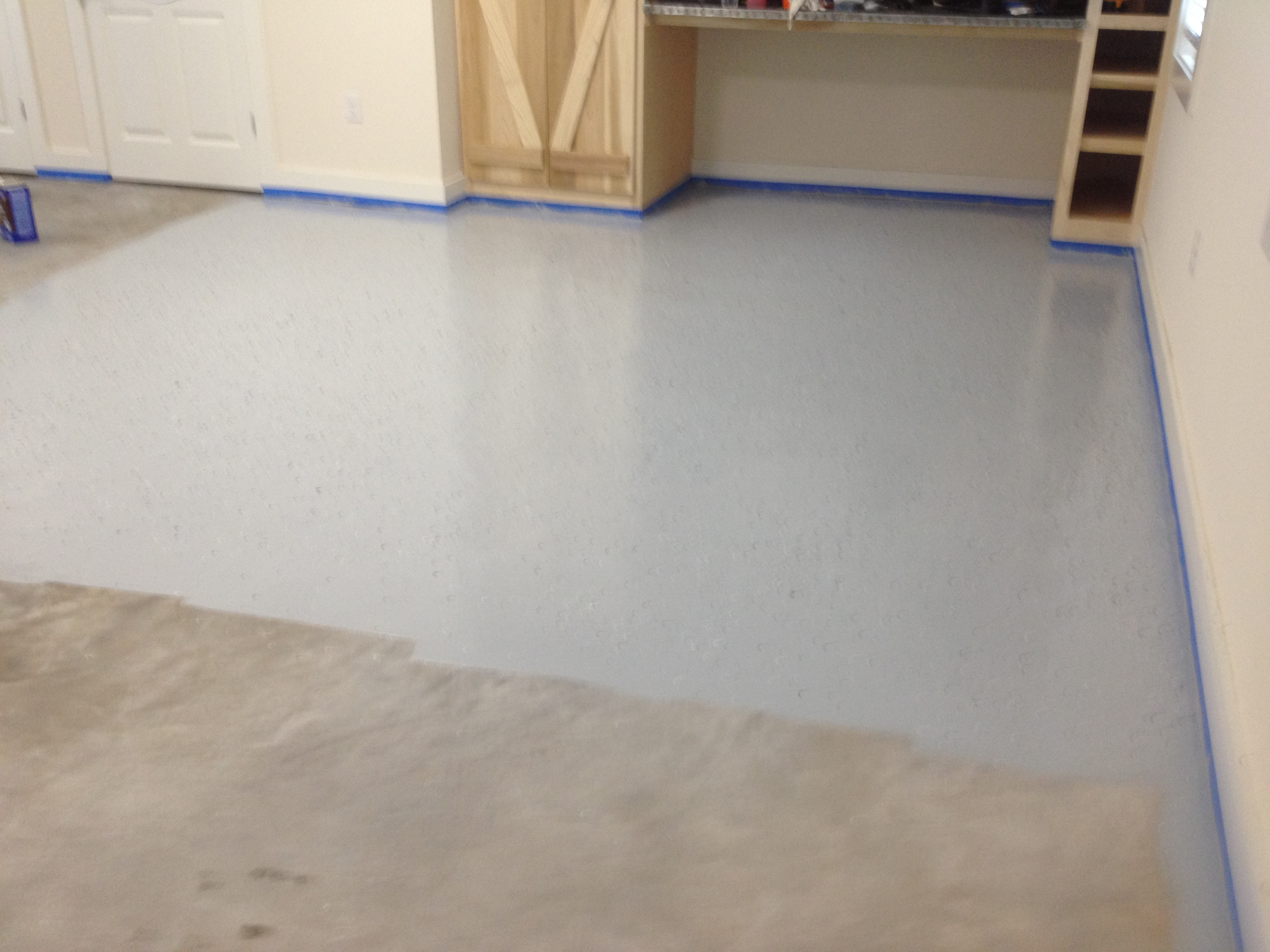 1st layer of epoxy floor covering