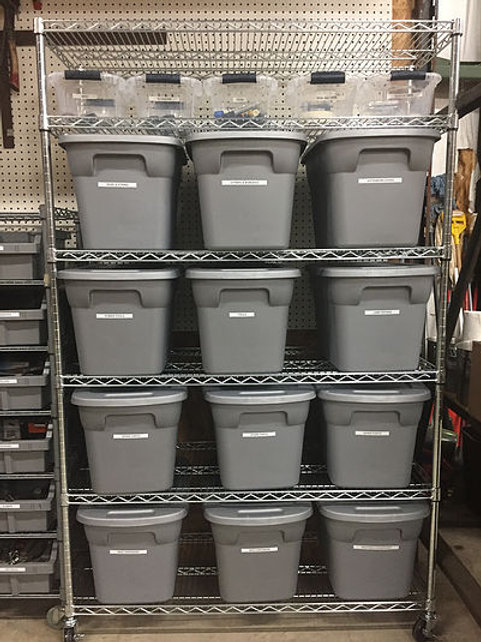 Commercial Grade Stainless Steel Shelving with Storage Bins