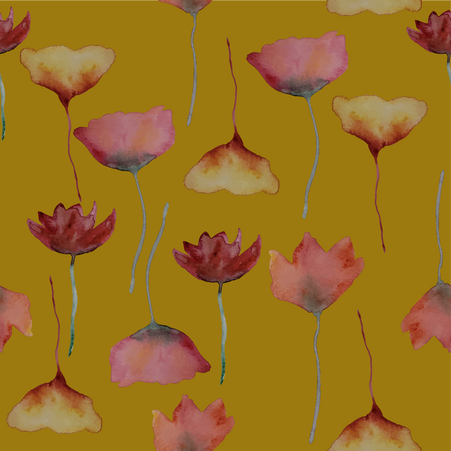 Watercolour flower motifs - mustard