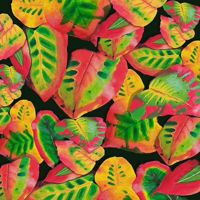 Jungle leaves_red and green