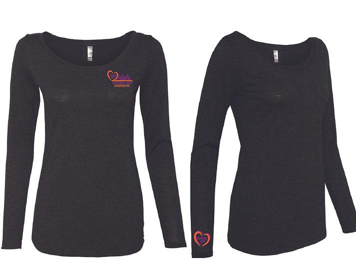 Tri-Blend Long Sleeve Scoop Neck T-Shirt- Black