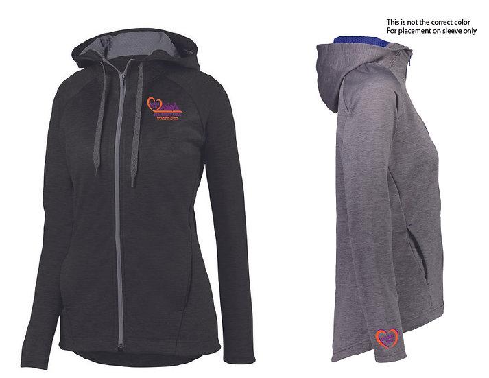 Augusta Sportswear Zoe Tonal Heather Full-Zip Hoodie - Black Graphite