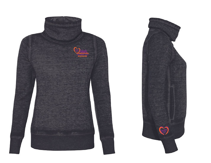 J. America Zen Fleece Cowl Neck Sweatshirt-  Twisted Black