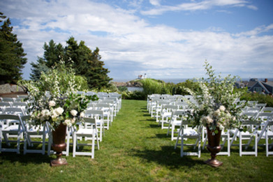 Your walk down the aisle at The ViewPoint. York Flower Shop wedding floral arrangements