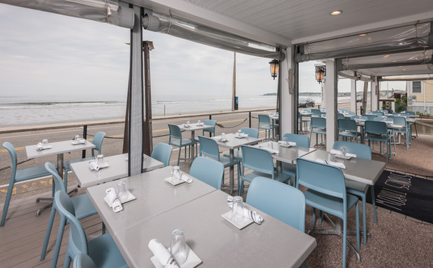 Enjoy ocean views while dining at Stones Throw Restaurant in York, Maine