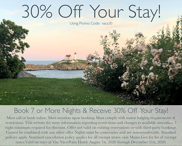 Book 7 or More Nights in 2020 at The ViewPoint Hotel in York, Maine and Receive 30% Off Your Stay!