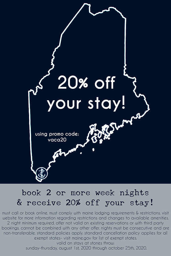 20% Off Your 2020 2-Night Stay at Stones Throw!