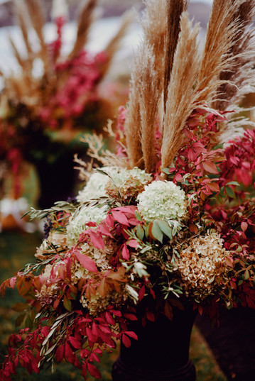 York Flower Shop Pampas Grass Wedding Floral Arrangements | York, Maine Outdoor Wedding Venue