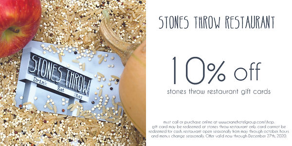 10% off Stones Throw Restaurant Gift Cards