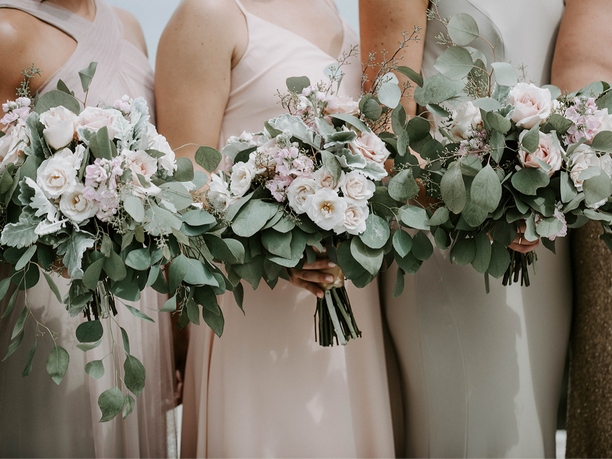 Eucalyptus Leaves Wedding Bouquet | Minka Flowers, Oceanview Wedding Venue Maine