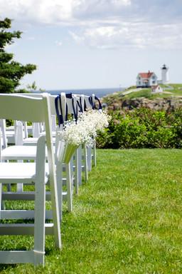 Baby's Breath Wedding Arrangement, Wedding Aisle, Nubble Lighthouse