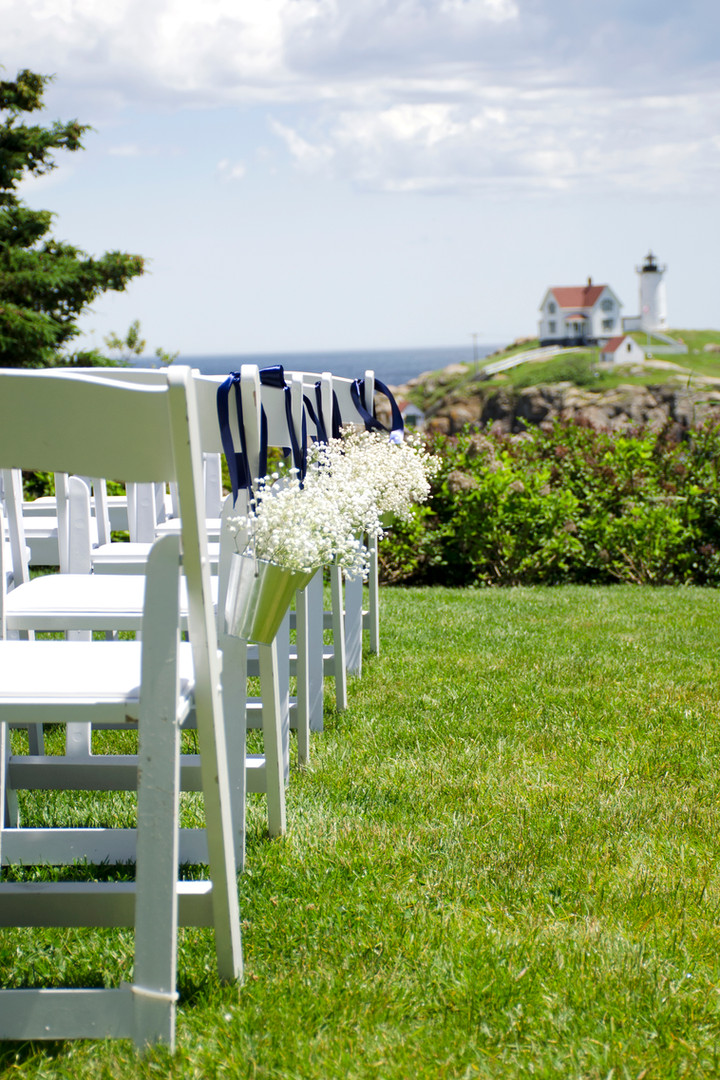 Baby's Breath Wedding Arrangement, Wedding Aisle, Nubble Lighthouse