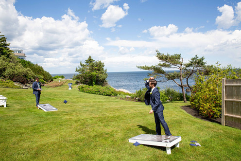 Wedding Lawn Games at Outdoor Wedding Venue with Ocean Views in Maine