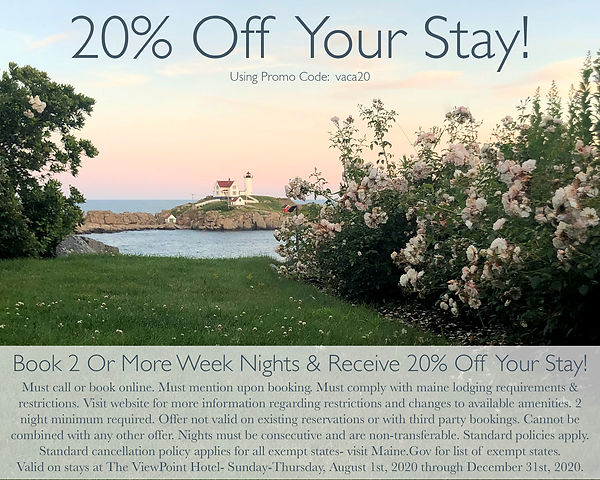 Book 2 or More Week Nights in 2020 at The ViewPoint Hotel in York, Maine and Receive 20% Off Your Stay!
