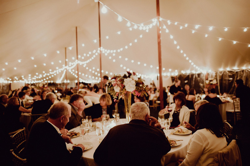 Sperry Tent Seacoast Bistro Lighting at The ViewPoint Hotel in York, Maine | Outdoor Tented Wedding Venue