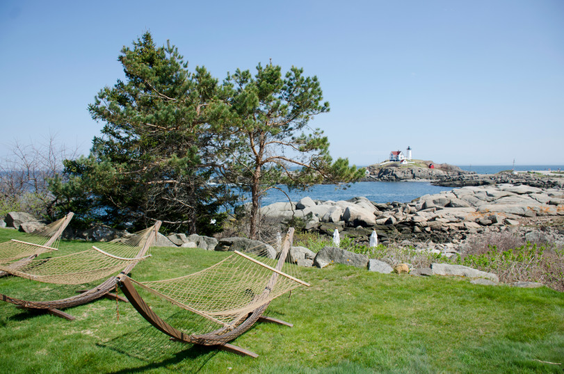 Hammocks at The ViewPoint Hotel in York, Maine overlooking Nubble Lighthouse
