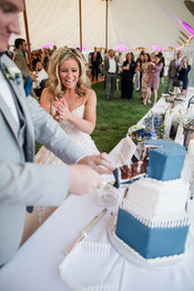 Cake Cutting at Tented Reception in York Beach, Maine
