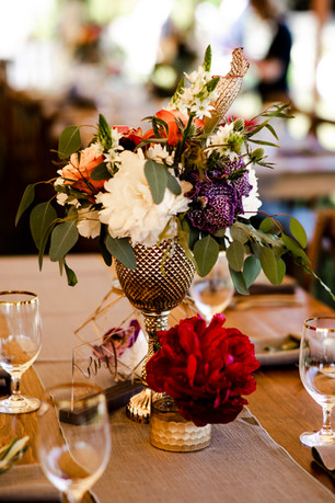 F as in Flowers |  Muted Tones Floral Centerpiece, Wedding Venue is Coastal Maine