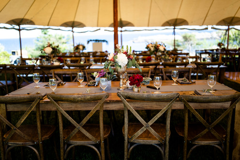 Wedding Reception at The ViewPoint Hotel, Farm table wedding reception