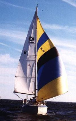 The Blue Crab - Maxi 8.7 sailed from City Dock to Cantlers Restaurant proudly flying her colors. 1995