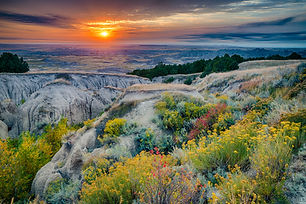 Sunrise over Badlands National Park, Sou