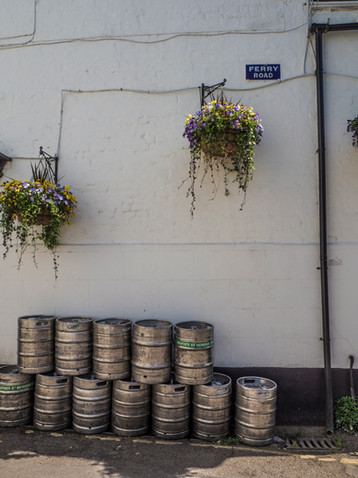 Kegs outside the White Swan
